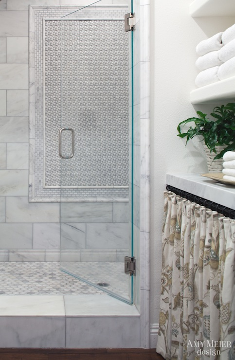 Basketweave Shower Curtain Transitional Bathroom