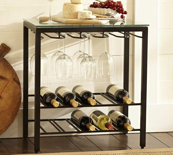 comstock black iron wine rack - Wine Rack Table