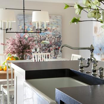 Honed Black Granite, Transitional, kitchen, Benjamin Moore Edgecomb Gray, Amy Meier Design