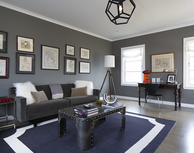 Gray and blue living room contemporary living room for Living room decorating ideas with grey walls
