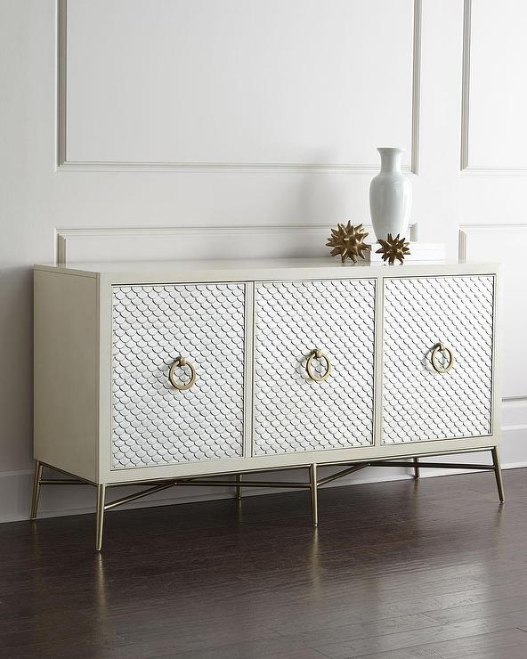 Capiz Painted Scales Design White Console