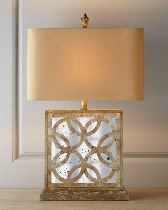 Montecito antique mirrored capiz shell table lamp aloadofball Images