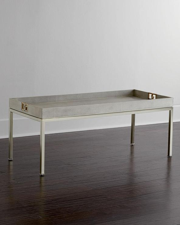Bernhardt Stockhart Metallic Shagreen Coffee Table