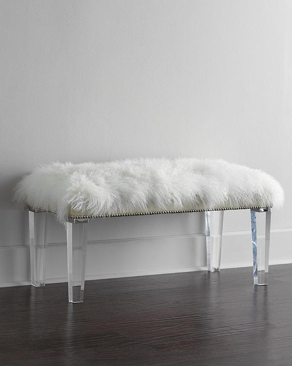 Massoud Alala Sheepskin Top Acrylic Legs Bench