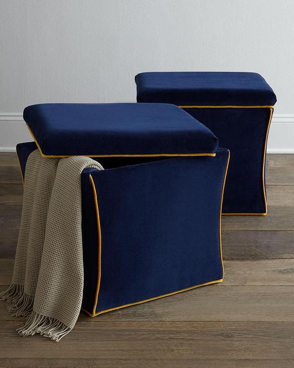 navasota gold trim blue storage ottoman view full size