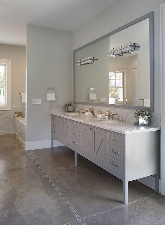 Gray Lacquer Mirror Contemporary Bathroom Artistic