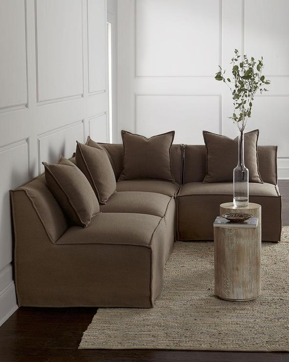 Massoud Carson Armless Taupe Sectional Sofa view full size