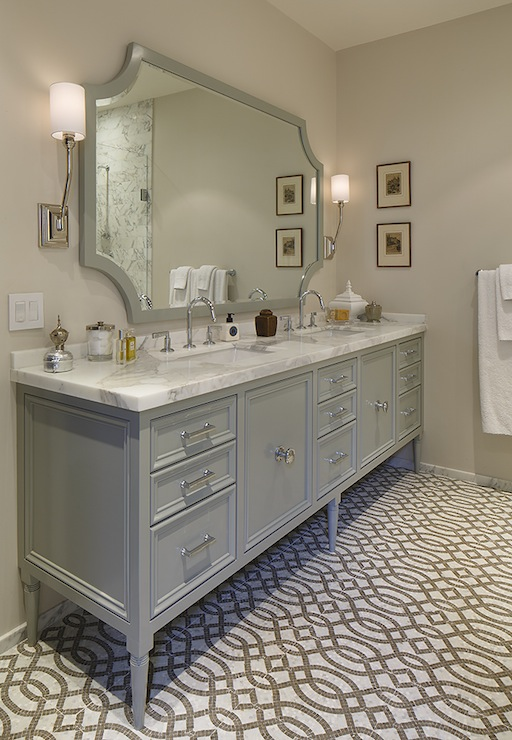 Gray trellis tiles contemporary bathroom artistic for Bathroom ideas grey vanity