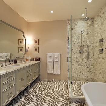 Trellis Tile Floor, Contemporary, bathroom, Artistic Designs for Living