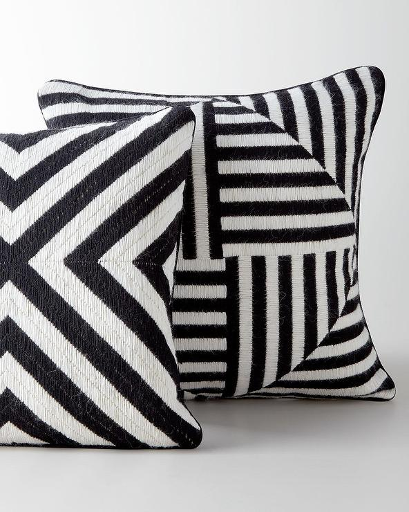 black and white striped geometric bargello pillows. Black Bedroom Furniture Sets. Home Design Ideas