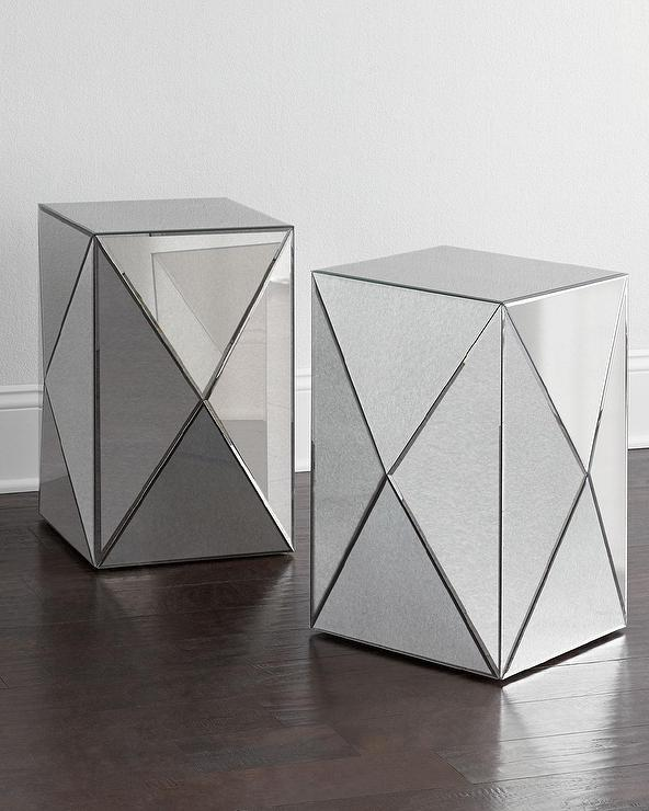 Geometric Mirrored Side Table