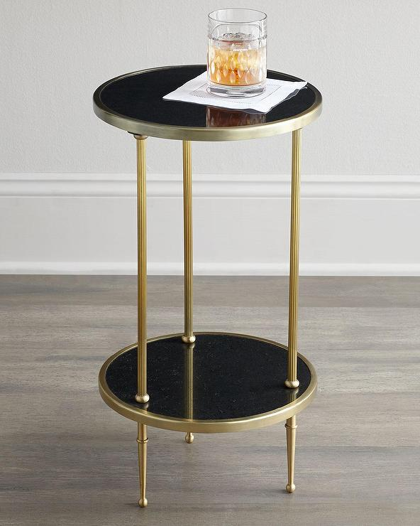 Two Tiered Black And Brass Side Table - Black and brass side table