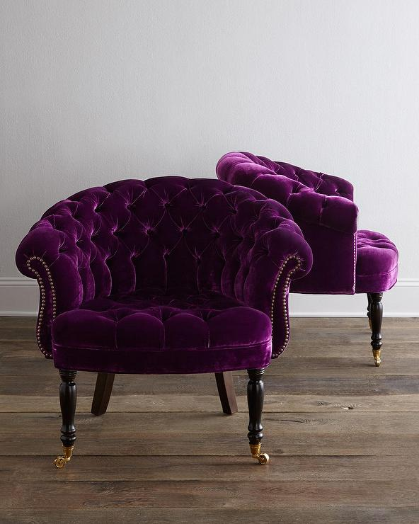 Nailhead Trim Dining Chairs Haute House Sausalito Purple Velvet Tufted Chair