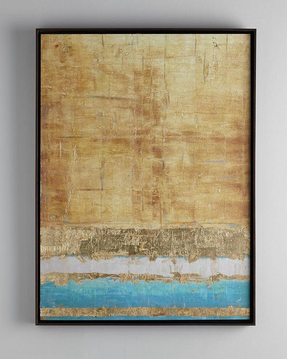John Richard Collection Aqua And Gold Giclee