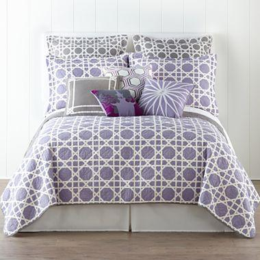 purple and white geometric quilt set and accessories