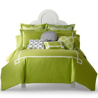 Green Charlotte Solid Duvet Cover Set
