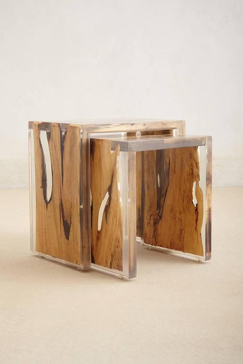Resin encased wood nesting table