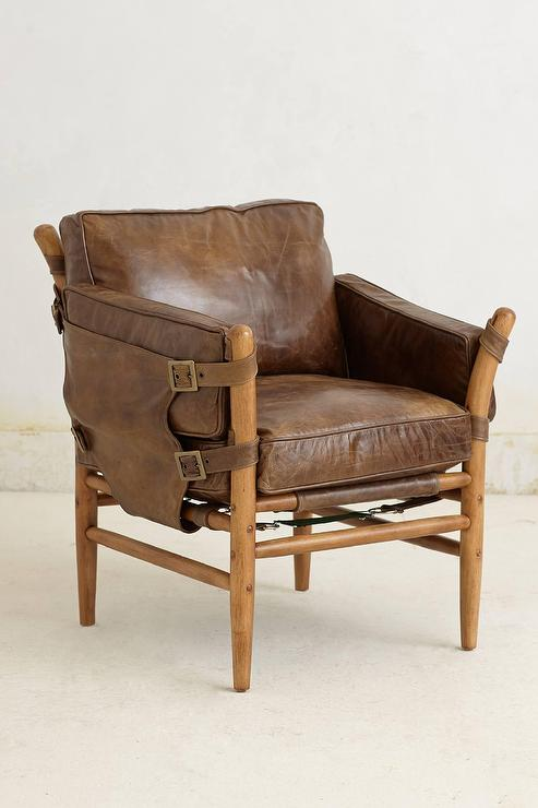 patrizia brown leather wood frame chair - Wood Frame Chair