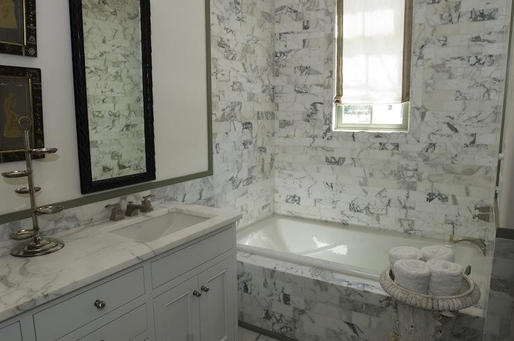 Statuary Marble Shower Transitional Bathroom Alys Beach