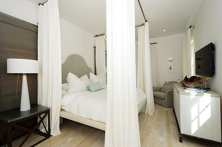 Ceiling Mounted Curtain Rods - Transitional - bedroom - Alys Beach