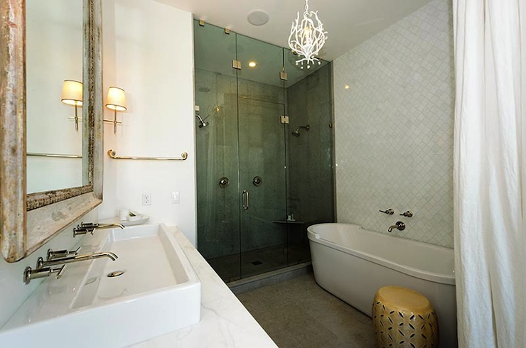 Arabesque Tile Wall Transitional Bathroom Alys Beach