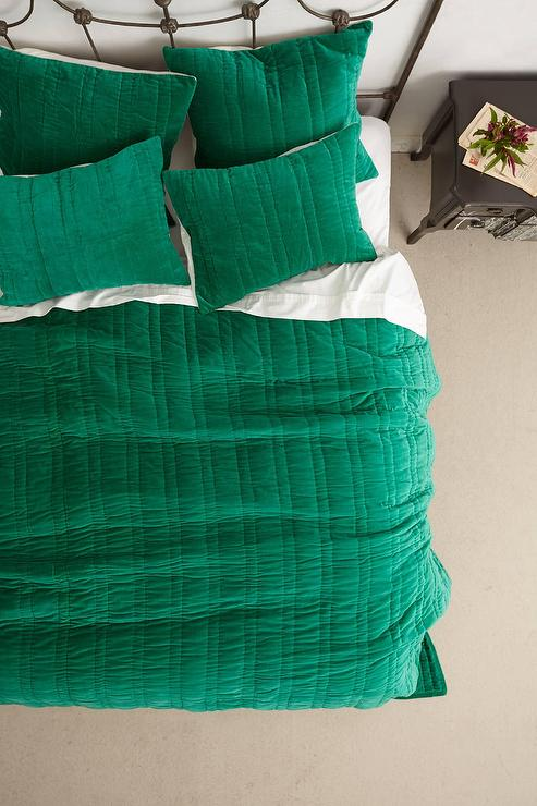 Stitched Green Velvet Coverlet