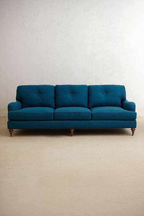 Winifred Turquoise Button Tufted Sofa