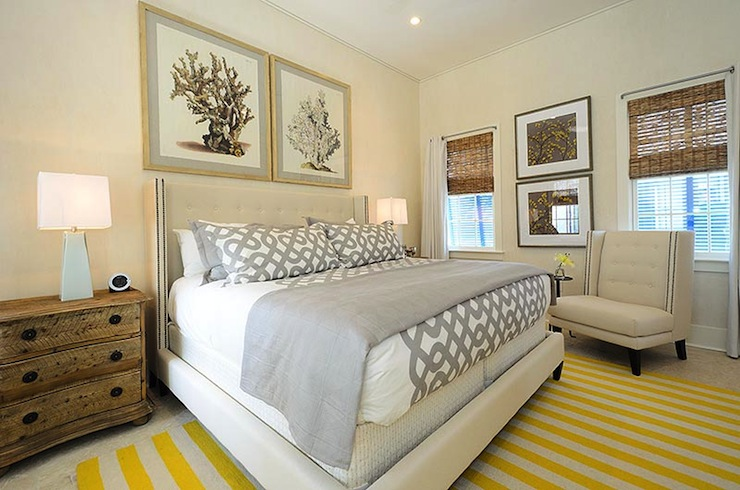 Gray and Yellow Bedroom - Cottage - bedroom - Alys Beach
