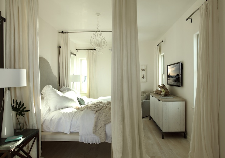 Ceiling Mounted Curtain Rods Transitional Bedroom