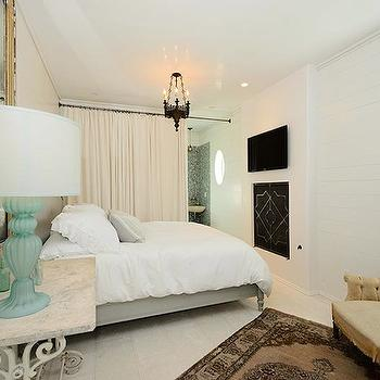 Turquoise Blue Glass Lamp, Transitional, bedroom, Alys Beach
