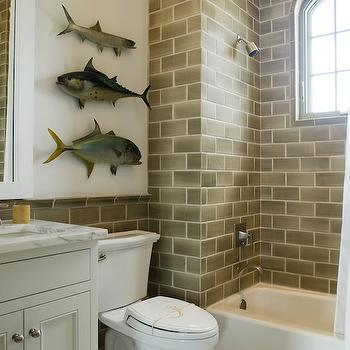 White Bathroom with Built In Shelf Over Toilet - Transitional - Bathroom
