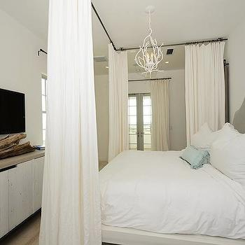 Ceiling Mounted Curtain Rods, Transitional, bedroom, Alys Beach