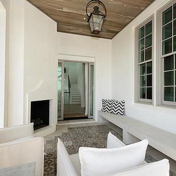 Covered Deck with Fireplace, Transitional, deck/patio, Alys Beach