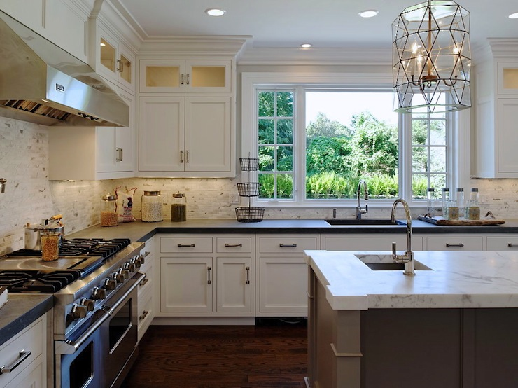 Beautiful Kitchen With White Perimeter Cabinets Paired