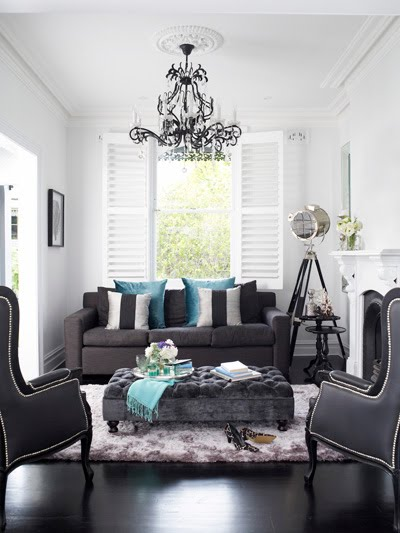 Dark Gray Ottoman - Contemporary - living room - Oliver Interiors
