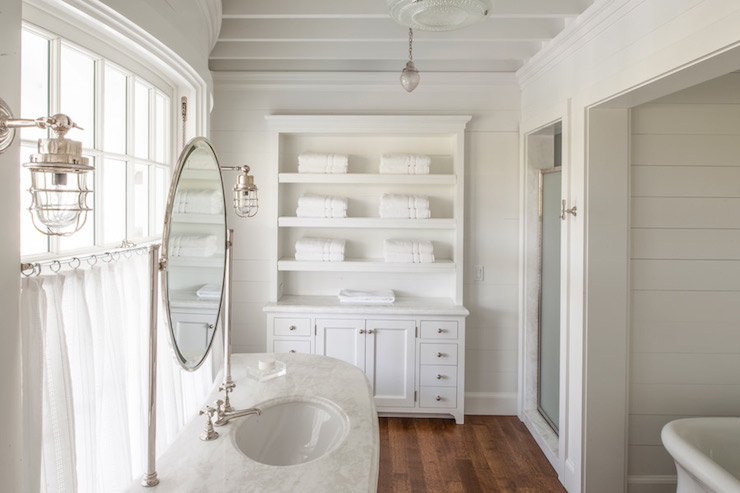 Bathroom Vanity In Front Of Window stained oak bath vanity cabinets with distressed mirrors - cottage