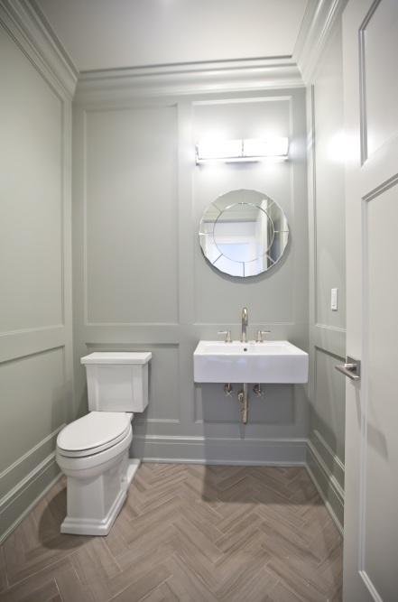 Herringbone Floor Transitional Bathroom Blue Water