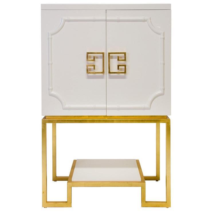 Worlds Away Anna Gold Trim White Cabinet