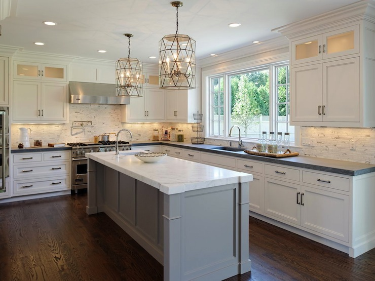 Faceted Light Pendants Transitional Kitchen Blue Water Home - Kitchens in grey tones
