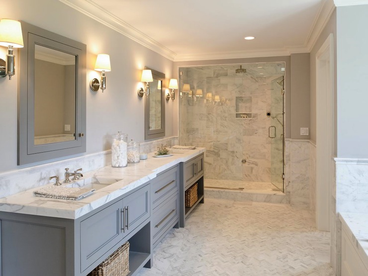 White Cabinets With White Marble Countertops Contemporary Bathroom Ma Allen Interiors
