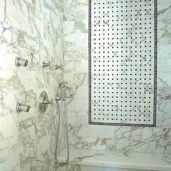 Calcutta Gold Shower Surround, Transitional, bathroom, Darci Goodman Design