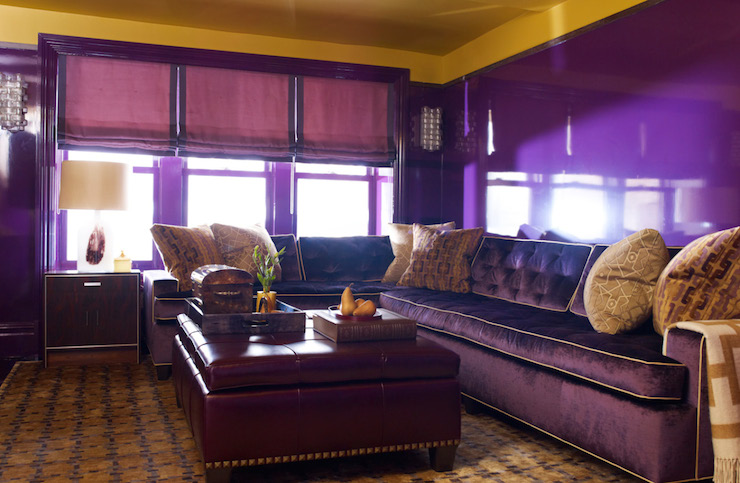 leather sectional sofa soundlab fin upholstery purple club