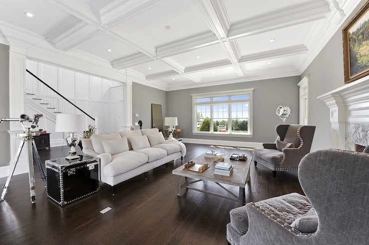 Coffered Ceiling Transitional Living Room The