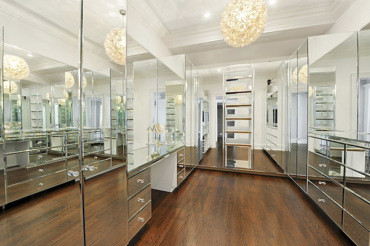 The Best Modern Walk In Closets Incredible Walk In Closet With Wall To Wall Mirrored Cabinetry