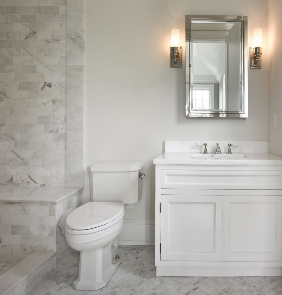 Carrera Marble Tile Shower Transitional Bathroom The