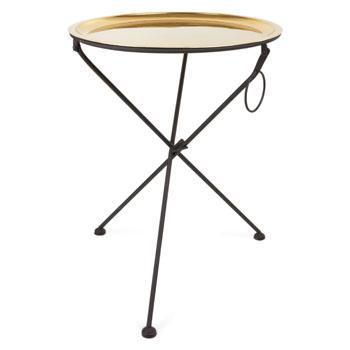 Round Folding Gold Tray Side Table