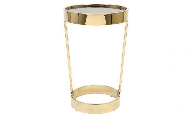 Dax Round Brass Table - Round brass glass side table