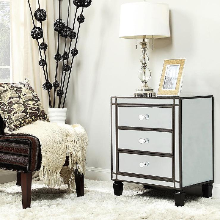 Black Mirrored Furniture Nihoa Mirrored 3-drawer Black