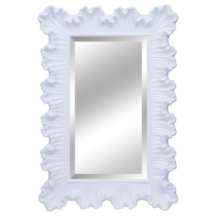 Ardant pearl white ruffle edge mirror for White mirror
