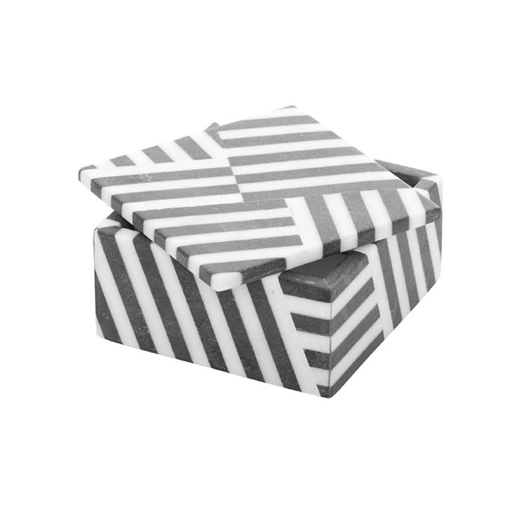 Kelly Wearstler Fractured Black And White Stripe Marble Box